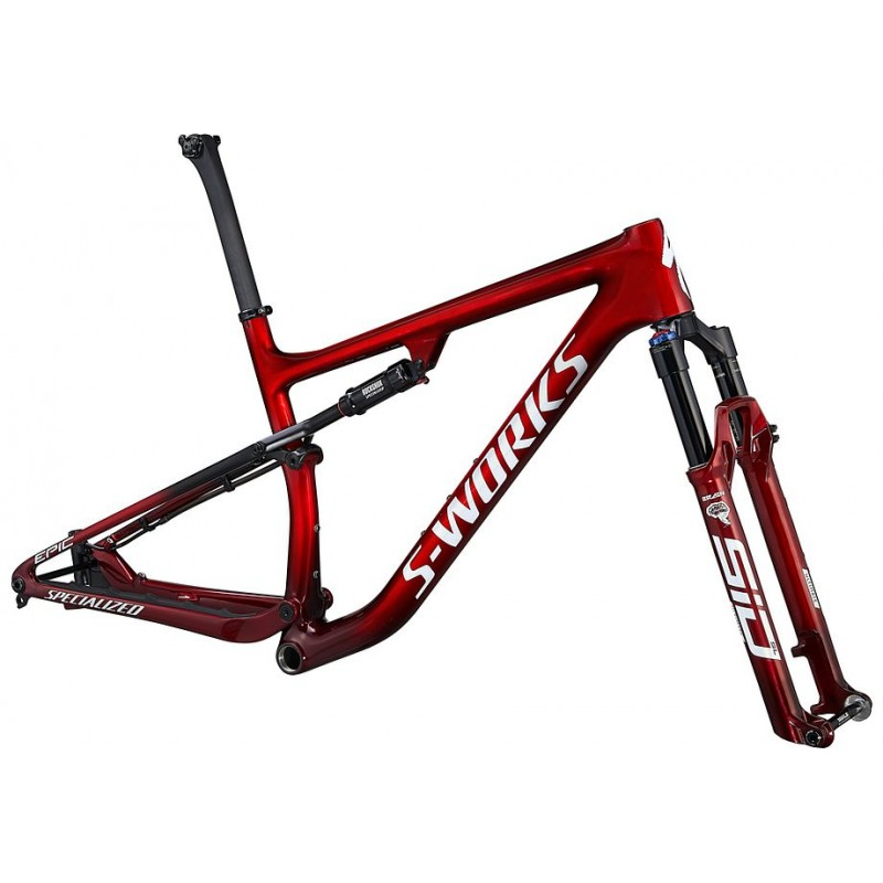 Cuadro S-Works Epic 2022 GLOSS RED TINT FADE OVER BRUSHED SILVER/TARMAC BLACK/WHITE w/ GOLD